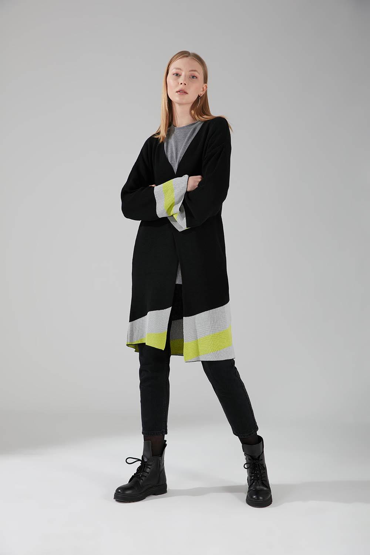 Renk Parçalı Triko Hırka (Siyah)