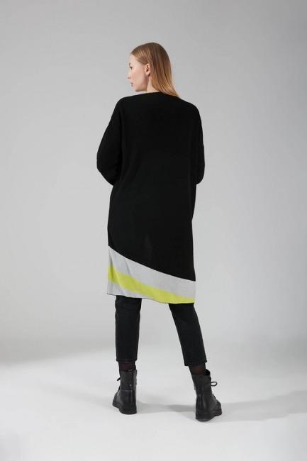 Renk Parçalı Triko Hırka (Siyah) - Thumbnail