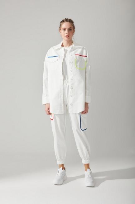 Mizalle - Renkli Biyeli Gabardin Gömlek (Beyaz)