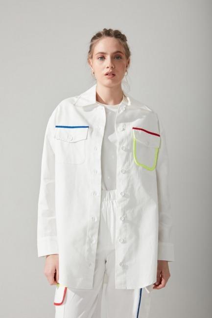 Mizalle - Renkli Biyeli Beyaz Gömlek