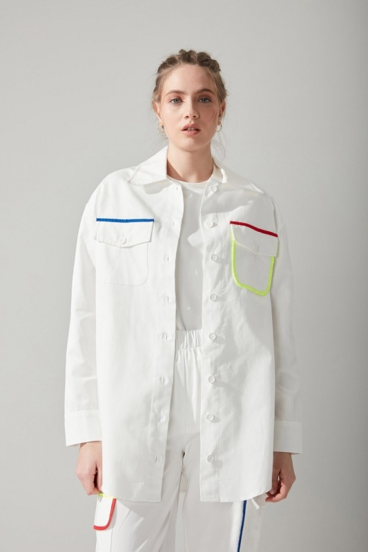 Renkli Biyeli Gabardin Gömlek (Beyaz)