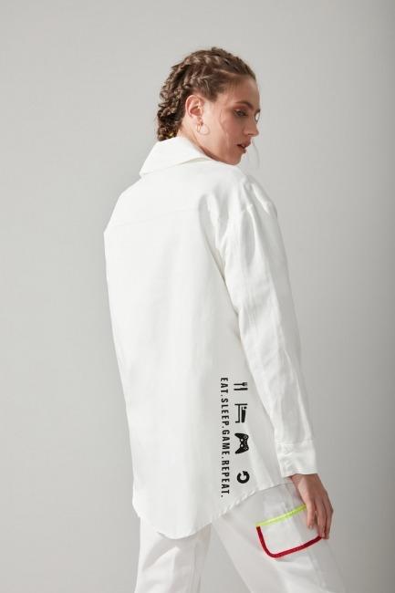 Renkli Biyeli Gabardin Gömlek (Beyaz) - Thumbnail