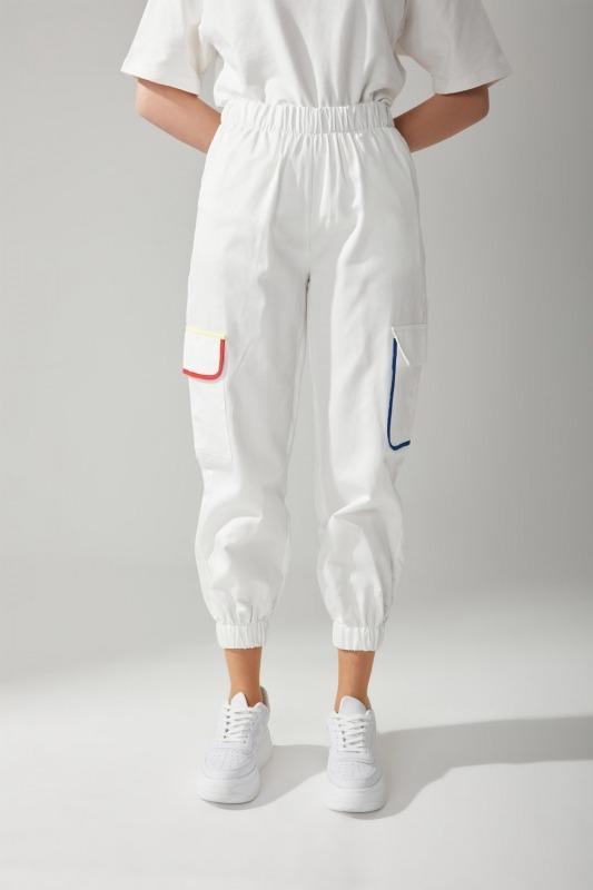 Renkli Biyeli Gabardin Pantolon (Beyaz)