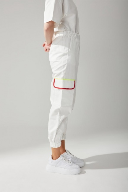 Renkli Biyeli Gabardin Pantolon (Beyaz) - Thumbnail