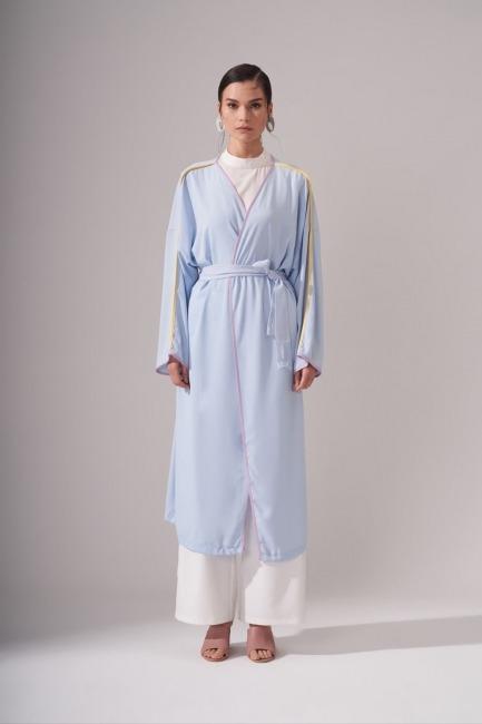 Mizalle - Renkli Biyeli Mavi Kimono