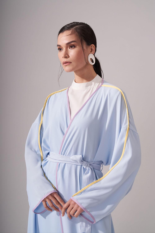 Renkli Biyeli Mavi Kimono