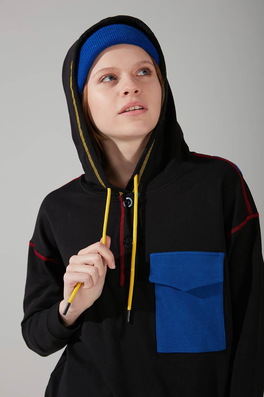 Mizalle - Renkli Cepli Sweatshirt (Siyah)