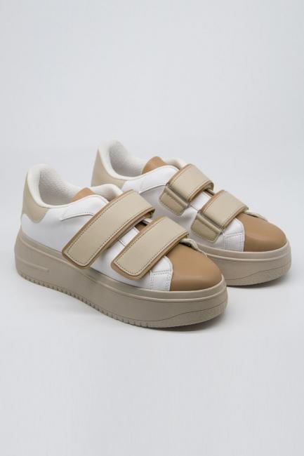 Mizalle - Cırt Bantlı Bej Spor Ayakkabı