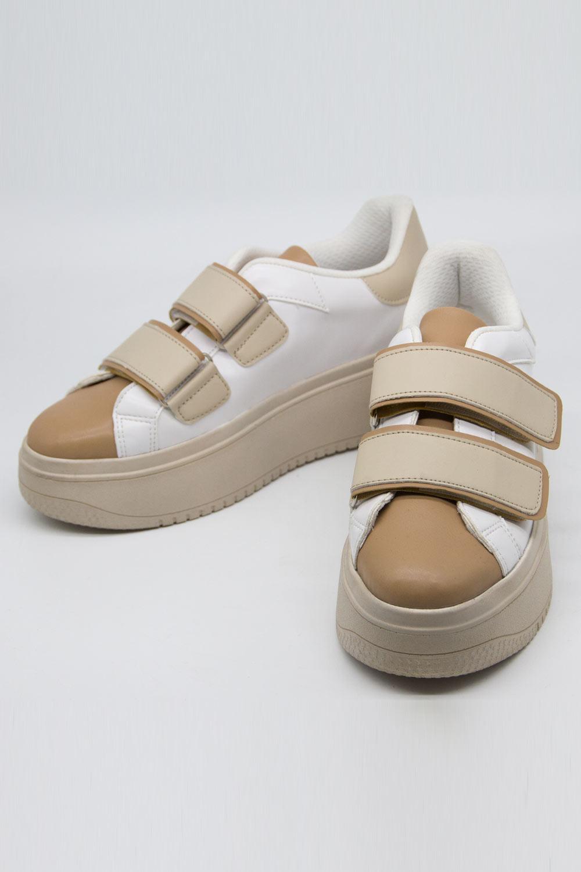 Cırt Bantlı Bej Spor Ayakkabı