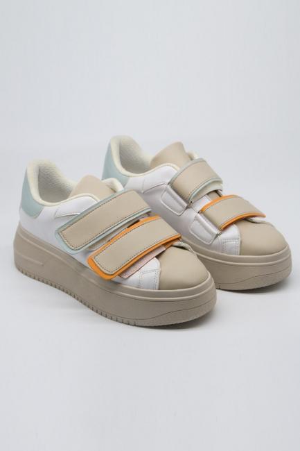 Mizalle - Renkli Cırt Bant Spor Ayakkabı