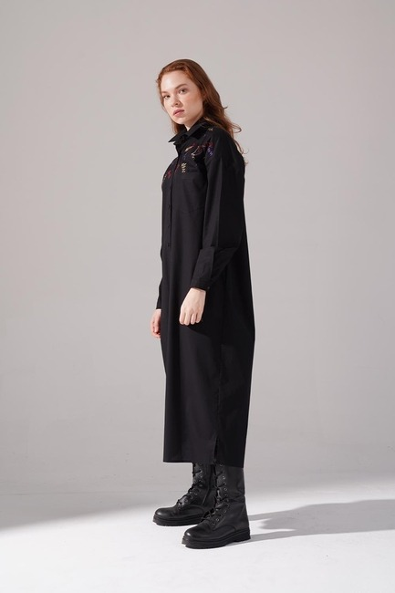 Renkli İşleme Detaylı Elbise (Siyah) - Thumbnail