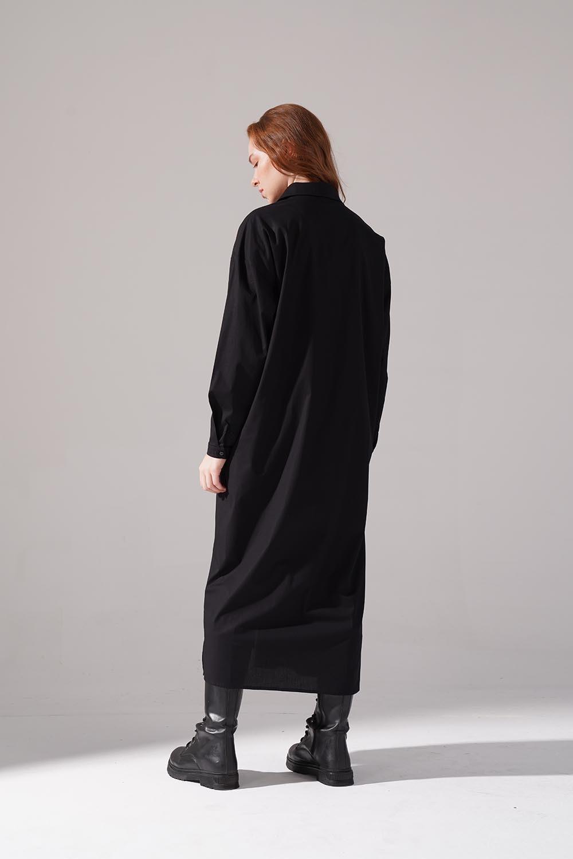 Renkli İşleme Detaylı Siyah Elbise