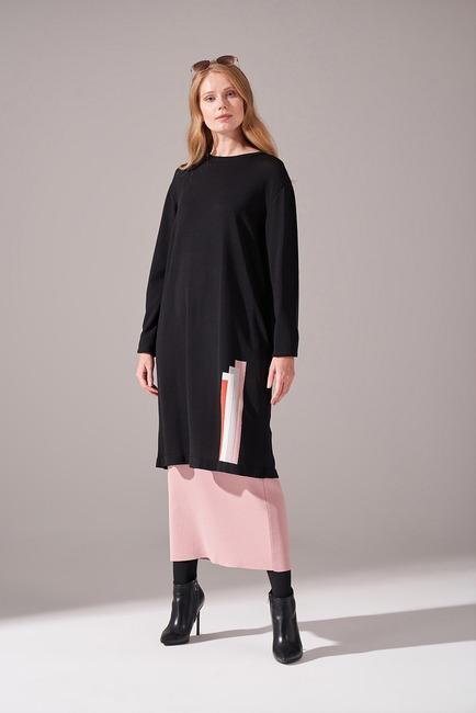 Mizalle - Renkli Rayon Triko Tunik (Siyah)
