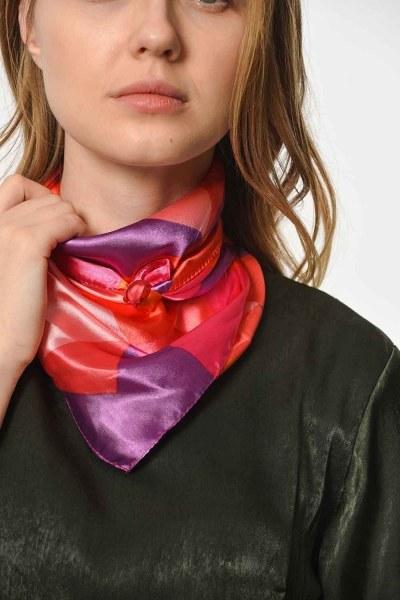 Renkli Saten Fular (Kırmızı Geçişli) - Thumbnail