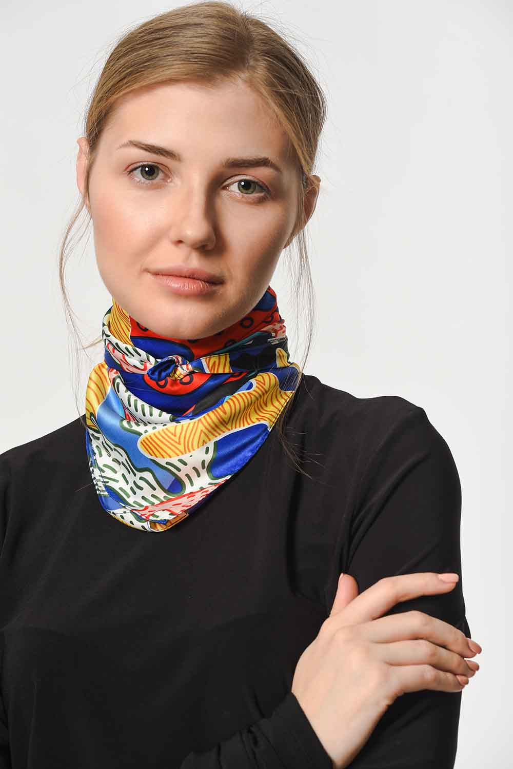 MIZALLE Colorful Satin Foulard (Mix) (1)