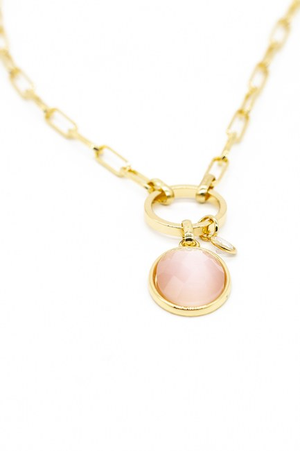 MIZALLE HOME - Colored Stone Detailed Chain Necklace (Pink) (1)
