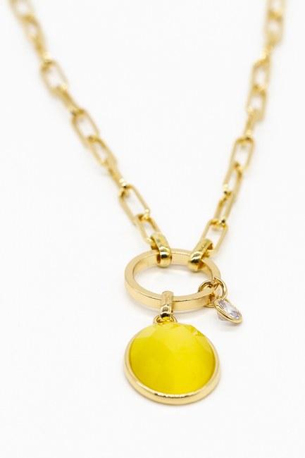 MIZALLE - Renkli Taş Detaylı Zincir Kolye (Sarı) (1)