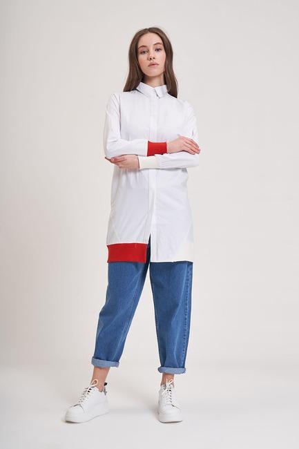 Mizalle - Ribana Detaylı Gömlek (Kırmızı)