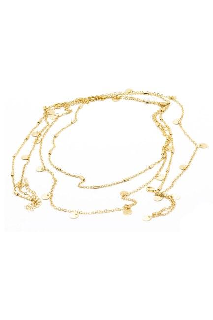 MIZALLE - Round Detailed Necklace Small (Yellow) (1)