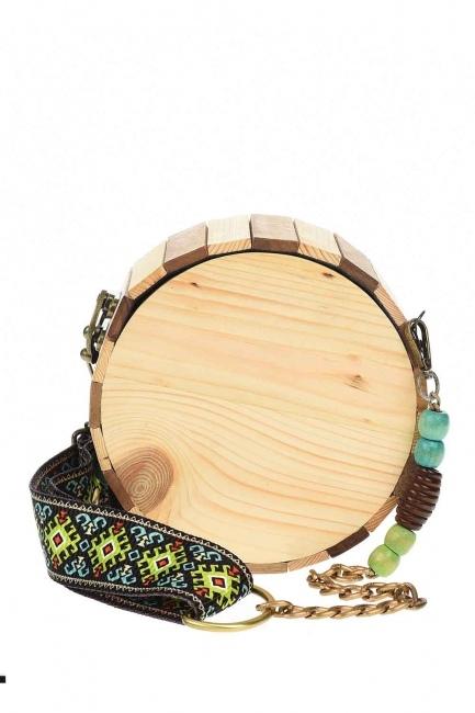 MIZALLE - حقيبة يد مستديرة مع حزام خشبي (البيج) (1)