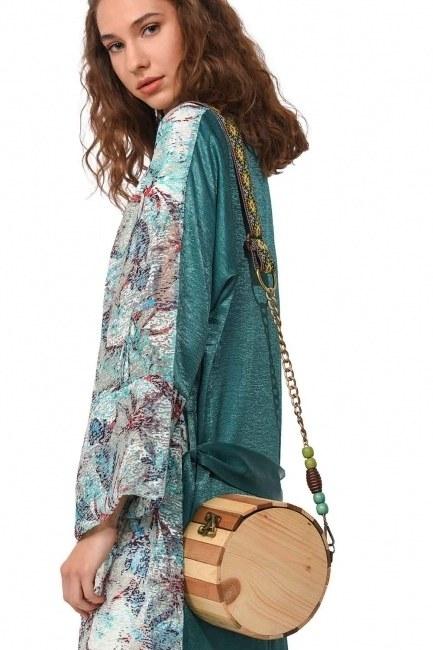 Round Form Wooden Arm Bag (Beige) - Thumbnail