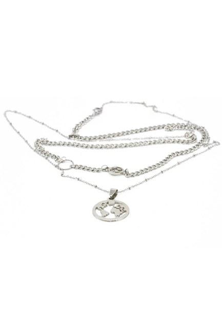 Mizalle - Round Pendant Chain Necklace (Grey) (1)