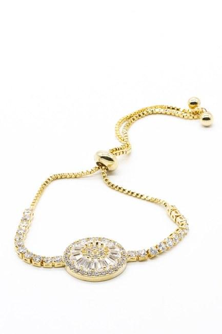 Mizalle - Round Stone Bracelet (Yellow) (1)