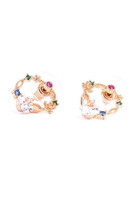 Mizalle - Round Stoned Earrings (Yellow) (1)