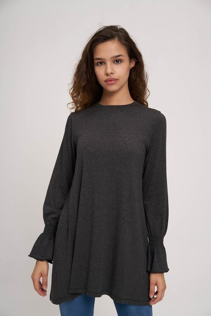 MIZALLE YOUTH - Ruched Detailed Tunic (Anthracite) (1)