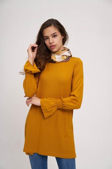 MIZALLE YOUTH - Ruched Detailed Tunic (Saffron) (1)