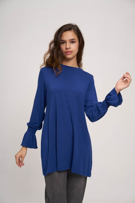 MIZALLE YOUTH - Ruched Detailed Tunic (Sax Blue) (1)