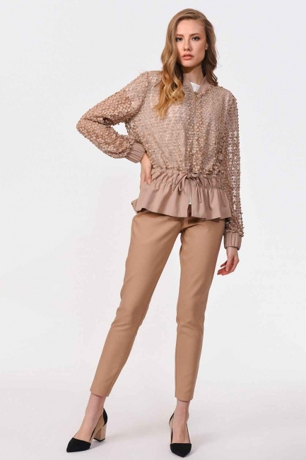 Ruched Sleeve Bomber Jacket (Beige) - Thumbnail