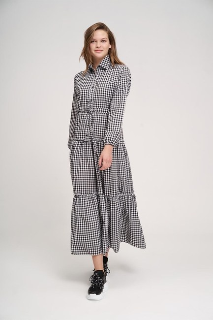 MIZALLE YOUTH - Ruffle Detail Plaid Dress (Black/White) (1)