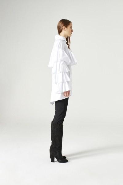 MIZALLE - Ruffle Shirt (White) (1)
