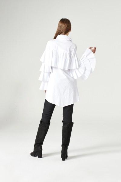Ruffle Shirt (White) - Thumbnail