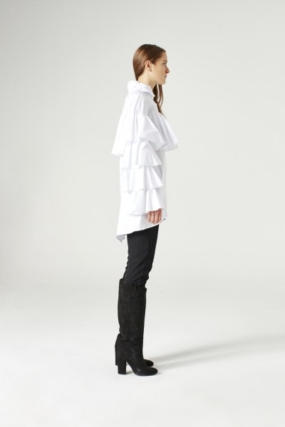 Ruffle Gömlek (Beyaz) - Thumbnail