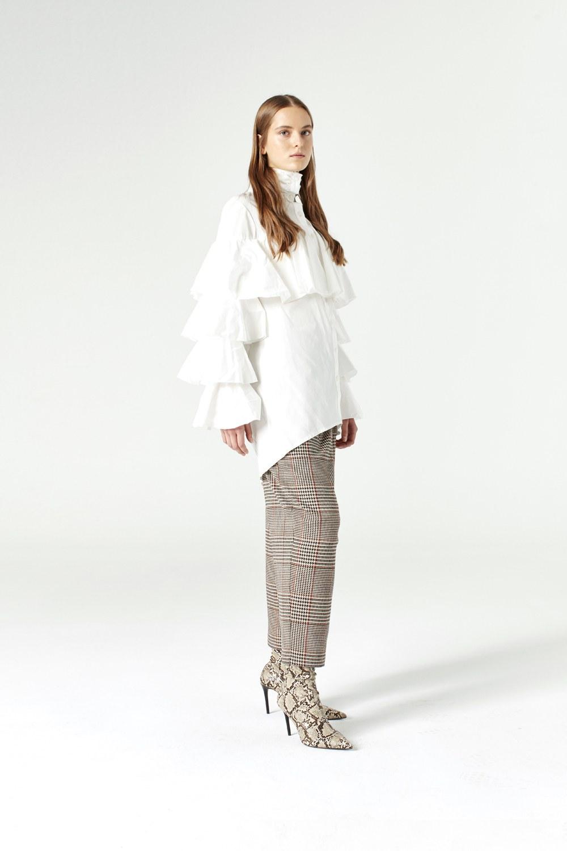 MIZALLE Ruffle Shirt (Ecru) (1)