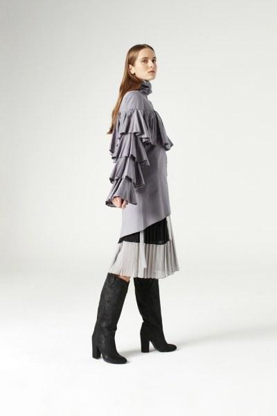 Ruffle Shirt (Grey) - Thumbnail