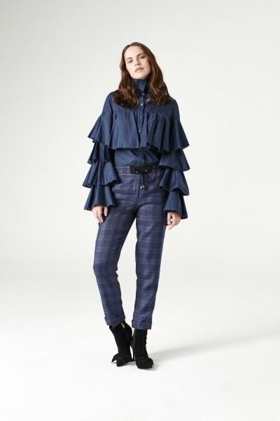 MIZALLE - قميص بكشكشة(أزرق داكن) (1)
