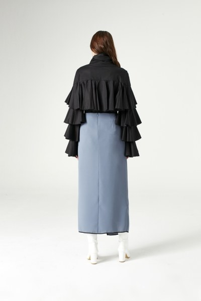 Ruffle Shirt (Black) - Thumbnail