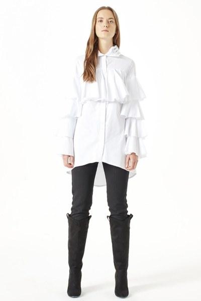 MIZALLE Ruffle Shirt (White)