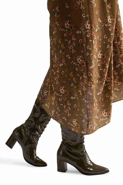 Mizalle - Rugan Çok Bağcıklı Uzun Çizme (Hakı)
