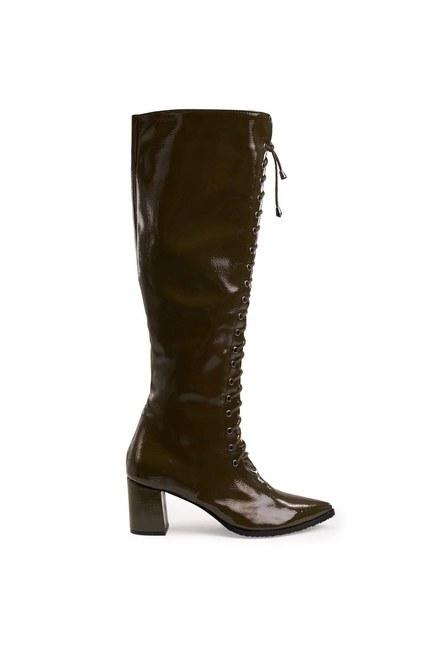 MIZALLE - Rugan Çok Bağcıklı Uzun Çizme (Hakı) (1)