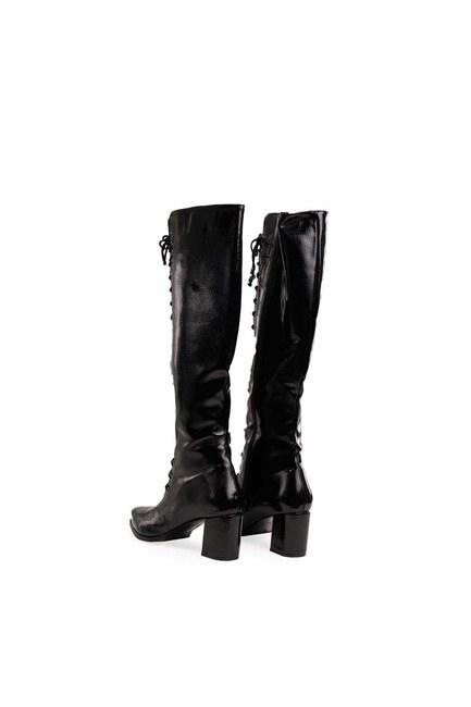 MIZALLE - Rugan Çok Bağcıklı Uzun Çizme (Siyah) (1)