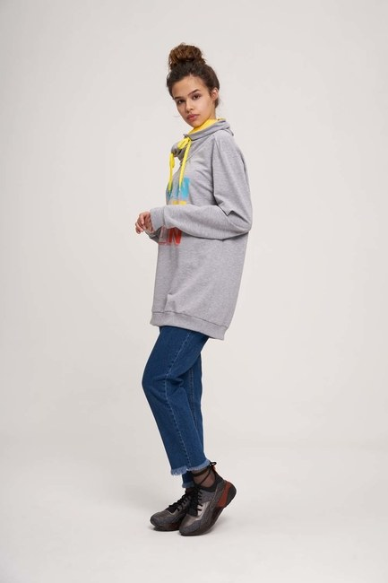 MIZALLE YOUTH - Run Baskılı Sweatshirt (Beyaz) (1)