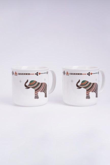MIZALLE HOME - Safari 2'li Porselen Kupa Seti (Beyaz) (1)