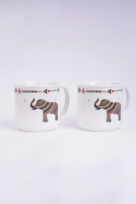 MIZALLE HOME - Safari Binary Porcelain Mug Set (White) (1)