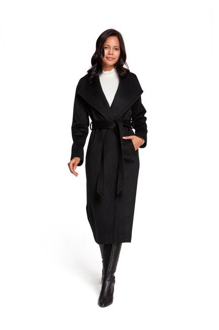 MIZALLE معطف شال بياقة على الطراز التايلندي (أسود)