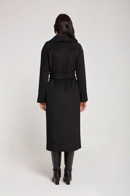معطف شال بياقة على الطراز التايلندي (أسود) - Thumbnail