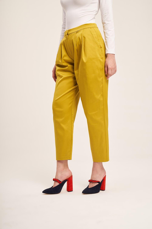 Saten Tasarım Pileli Pantolon (Safran)